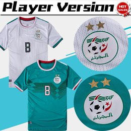 Futbol blanco verde online-2020 Dos estrellas versión para jugadores Argelia local blanco # 8 BELAILI Camisetas de fútbol 19/20 visitante verde club de fútbol camisetas de fútbol Uniformes de fútbol
