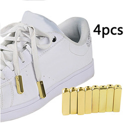 Кроссовки золотой металл онлайн-4PCS/Set Metal Aglet Screw On Shoelaces Tips Hoodies Zinc Alloy Polished For Sneakers Jackets Replacement Mirror Gold Decorative