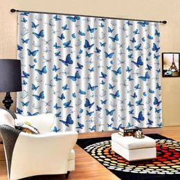 cortina estilos plissados Desconto borboleta azul cortinas cortinas de janela para sala de estar quarto apagão