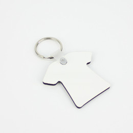 diy t shirt transfer Coupons - Wholesale 500pcs DIY MDF Double Blank T-shirt Key Chain Sublimation Wood Key Ring For Heat Press Transfer Jewlery Photo Gift