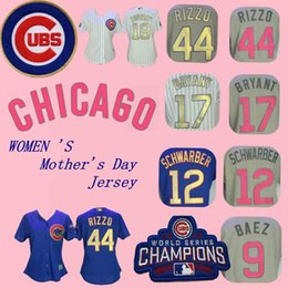 Kyle schwarber online-Jersey de Chicago Anthony Rizzo Cachorros Kyle Schwarber Javier Báez Kris Bryant Russell Campeones de la Serie Mundial Camisetas del Día de la Madre