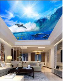 Mural da etiqueta da nuvem on-line-Personalizado 3D foto mural de seda papel de parede Onda golfinho céu azul nuvens brancas teto zenith mural adesivo de parede Papel de parede