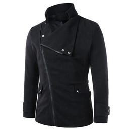 Stand ropa ropa ropa online-Hombres Abrigos de invierno Cuello alto Bolsillos con solapa Oblicuos Zip Up Chaqueta Hombre Ropa Negro Outwear Ropa de otoño