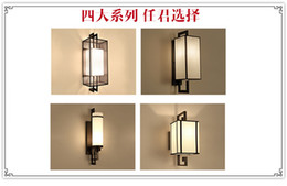встроенные аварийные фонари Скидка Новый китайский стиль настенный светильник multi-спецификация спальня ткань светодиодные прикроватные лампы LED гостиничный номер античный настенный светильник многоцветные опционально