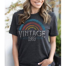 f86da53f Vintage 1989 Letter Printed T-shirts For Women Rainbow Funny T Shirt Cute  Graphic Tees Casual Short Sleeve Ulzzang Harajuku Tops cute graphic tees on  sale