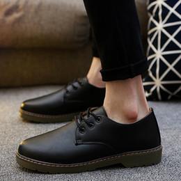 outillage en cuir Promotion 2019 nouvelle cravate britannique bottes basses bottes en cuir mens tendance rétro tête ronde Martin bottes outillage chaussures européennes et américaines