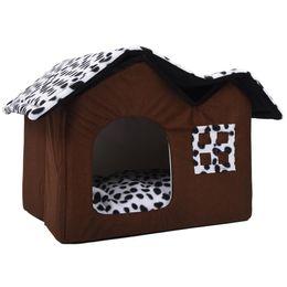 Cani di animale domestico di lusso online-Hot Pet House Luxury High-End Double Dog Room Letto per cani marroni Double Pet House casa per cani morbido caldo 55 x 40 x 42 cm Pet Product D19011201