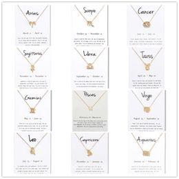 Canada 12 constellation signes pendentif colliers avec blanc carte-cadeau charme du zodiaque chaînes d'or pour hommes femmes bijoux de mode en vrac supplier white gold pendants for men Offre