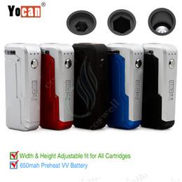 Размеры аккумуляторов онлайн-Аутентичные Yocan UNI Mod 650mAh Разогреваемое напряжение переменной температуры Регулируемая батарея для всех размеров ширины Толстые масляные картриджи Разогрев