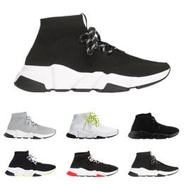 Meias on-line-2019 balenciaga sapatos de grife Speed Trainer tênis de luxo top quality preto branco glitter verde moda meias botas respirável runner sapatos casuais