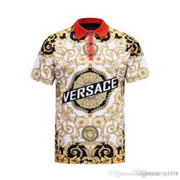 2019 ropa europa 2019 Lujo Europa París patchwork hombres Camiseta Moda Diseñador de Mens T Shirt Casual Hombres Ropa medusa Algodón Tee polo de lujo ropa europa baratos