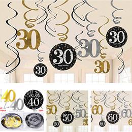 Decoraciones colgantes para fiesta de cumpleaños online-El nuevo diseño del brillo 30/40/50/60 ° cumpleaños de los remolinos colgantes Decoración de láminas Danglers espiral adultos decoraciones de cumpleaños fiesta de aniversario