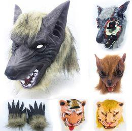 gants avec tête Promotion Cosplay Latex En Caoutchouc Loup Tigre Loup Lion Tête Masque De Cheveux Gants Unisexe Nouveauté Animal Plein Masque Halloween Rôle Jouer Fantaisie Partie Costume