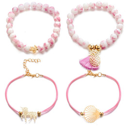 pink shell bracelet Coupons - Bohemia Pineapple Unicorn Shell Bracelet Fashion Weave Rope Chain Charm Pink Natural Stone Bracelet Women Party Jewelry