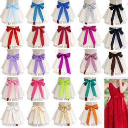 bridesmaids stocking flowers Promo Codes - Satin Sash Belt Ribbon For WEDDING Bridesmaid Flower Girl Fancy Dress Multicolor Girdle Waistband Faga In Stock