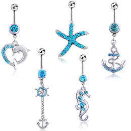 Joyería azul campana online-5 unids / set Starfish Dolphin Fish Blue Crystal Body Jewelry Rhinestone de acero inoxidable Navel Bell Button Piercing Dangle Rings para mujeres Regalo