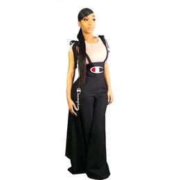e0b8e723a204e Women Champion Letter Print Jumpsuit Casual Suspender Pants Summer Overalls  Girl Sleeveless Romper Wide Leg Dress Brace Summer Trousers A427