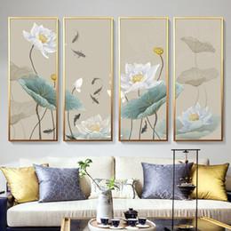 Conjuntos de quarto chinês on-line-Pintura Da Lona pintado à mão Emoldurado Conjunto Abstrato Flor De Lótus Chinesa Água Lírio Imagem Arte Da Parede Para Sala de estar Quarto Decoração Da Parede