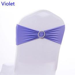 Caixilhos de cadeira violeta on-line-Cor violeta na cadeira de venda faixa com fivelas Rodada para capas de cadeira spandex band lycra faixa de gravata borboleta decoração do casamentoA