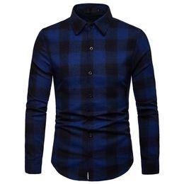 Dropshipping camisetas on-line-2018 Camisa Dos Homens de manta Casuais Moda Steetwear Camisas Dos Homens Turn Down Collar Manga Longa Masculina Camisas Dropshipping