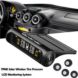 rueda momo Rebajas Pantalla LCD en color inalámbrica universal del sistema de monitoreo solar TPMS con 4 detectores externos de neumáticos para automóviles para automóviles
