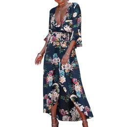 a1159baae5 Women's Floral Print Rayon Dress Sexy V-Neck Waist Tie Wrapped Dress  Asymmetric Hem Beach Bikini Cover Up