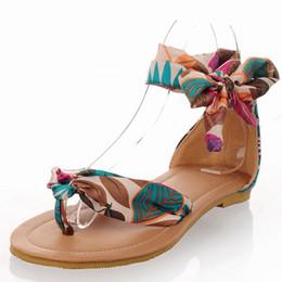 обувь на день Скидка Hot2019 Женская обувь Will 40-52 из Богемии Вторая Шелковая Лента В День Отпуска Девушка Студент Сандалии 326-4