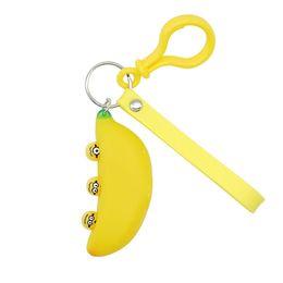 Canada Dessin animé Squeeze Pop Out Expression Drôle Banane Porte-clés Mignon Décompression Jouet Porte-clés Anneau De Voiture Porte-clés Sac Pendentif Offre