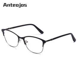 8c9fed8f45 spectacle frames designs 2019 - ANTEOJOS Men Women s Eyeglasses Trendy  Design Black Metal Optical Frame Myopia