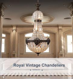 Retro Vintage Crystal Chandeliers E14 LED Blue Large European Empire Style Lustres Hand Blown Glass Chandelier Lighting For Living Room Pendants