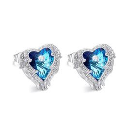 Boucles d'oreilles pour anniversaire copine en Ligne-Boucle d'oreille en cristal du coeur de la mer pour cadeau d'anniversaire petite amie avec boîte-cadeau
