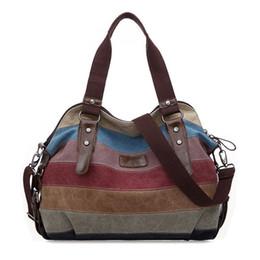 Handtasche farbblock online-Art- und Weiseweinlese Frauen Schulter Farbblock Tasche Canvas Tote Handtasche Geldbörse