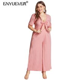 2019 calça rosa de pernas largas Enyuever Plus Size Mulher Macacões Para As Mulheres Roupas Bolsos Calças Perna Larga Manga Curta One Piece Rosa Casuais Macacão Macacão calça rosa de pernas largas barato