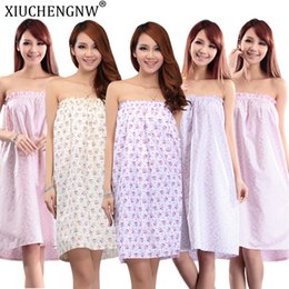 beauty salon clothes Promo Codes - Beauty Salon Bath Skirt Bathrobe Summer Section Wrapped Chest Sweat Steaming Clothes Women Tube Top Nightdress Pajamas Customer