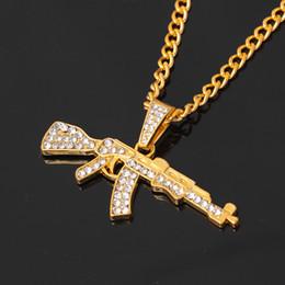 Ak47 gold on-line-Liga colar de pingente de arma ak47 gelada fora strass com hip hop miami cadeia cubana ouro prata cor homens mulheres jóias
