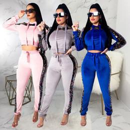 Vestiti di velluto rosa delle donne online-Tuta in velluto 2019 2 abiti a due pezzi vestiti per donna con paillette crop top + pantaloni completi di felpa abiti rosa set coordinati in velluto