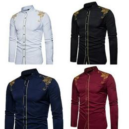новый мужской дизайн Скидка Европа и Соединенные Штаты весной и осенью новая мода дизайн суда вышивки с длинными рукавами мужского самосовершенствования слово лацкане рубашки