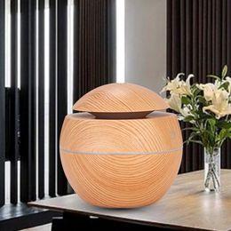 Luci per uffici online-Grano di legno Essenziale Umidificatore Aroma Diffusore di olio Ultrasuoni Umidificatore d'aria in legno USB Mini Nebulizzatore Luci a LED per l'ufficio domestico RRA1897