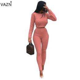 Вязать сексуальные брюки онлайн-VAZN 2019 горячая мода Sexy 2 шт. женщины твердые трикотажные комбинезоны дамы О-образным вырезом полный рукав топы длинные брюки комбинезоны QM3583