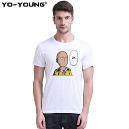 Um homem soco on-line-Anime One Punch Man Saitama Homens Camisetas Impressão Digital 100% 180g Algodão Penteado Tees Casuais Homme Manga Curta Personalizado