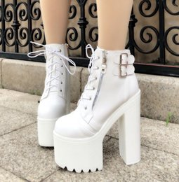 heel white punk Promo Codes - Fashion Women Gothic Boots Lace Up Ankle Boots Women Punk Shoes Ultra Very High Heel Bootie Block Chunky Lady White High Heel