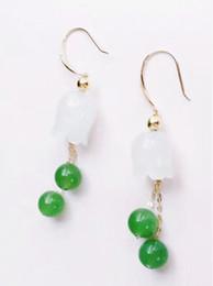 Nouvelles boucles d'oreilles orchidées avec anneau en jade blanc Hetian naturel incrusté d'or 18K ? partir de fabricateur
