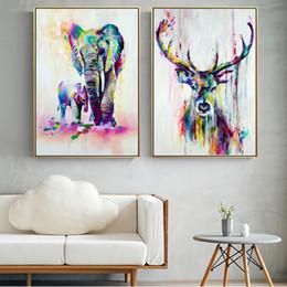 pinturas de arte abstrata para crianças Desconto Pinturas na Parede de arte Animais da lona da aguarela elefante e cervos Abstract Graffiti Art Prints Posters Para Kids Room