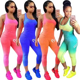 f849e4f315d Women PINK Letter Tank Top Outfit Set Summer Tracksuit Gradient Color  Sleeveless T shirt Vest Tights Pants Sportswear Victoria Suit A21902