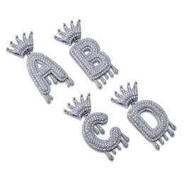 Canada A-Z Initial Bulle Lettre Collier Collier Nom Couronne Drip Lettres Pendentif Colliers Hommes Femmes Or Argent Couleur CZ Hip Hop Bijoux Cadeaux Offre