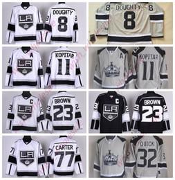 Camisolas baratas de alta qualidade on-line-O homem é barato Los Angeles Reis Jerseys Jonathan Quick Dustin Brown Drew Jeff Carter Costurado Costurado Alta Qualidade Hockey Jersey Branco