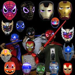 capitão américa natal luzes Desconto Diodo emissor de luz brilhante vingadores máscara super hero capitão américa hulk homem de ferro máscara crianças adultos natal do dia das bruxas cosplay máscara led c567