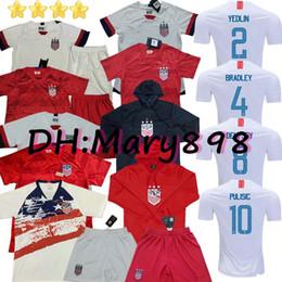 Camisetas de futebol dos eua on-line-qualidade tailandês 2019 2020 EUA 4 estrelas PULISIC futebol Jersey 2019 jerseys DEMPSEY Morgan RAPINOE LLOYD Ertz América Futebol Estados Unidos S-XXL