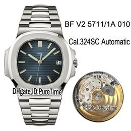 Melhor pulseira de relógio de aço inoxidável on-line-BFF V2 Nautilus 5711 / 1A-010 Cal.324SC Relógio Automático para Homem D-Blue Texturizado Dial Pulseira de Aço Inoxidável Relógios Melhor Edição Puretime E30b2