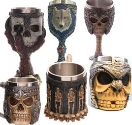 claw bar Promo Codes - Skull Horror Cup Skull Resin Stainless Steel Retro Claw Red Wine Cocktail Cup Party Bar Drinkware